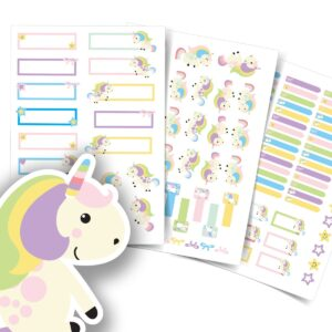 Etiquetas Escolares Unicornio Personalizadas 117un