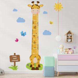 Adesivo de Parede Girafa Régua de Crescimento 146cm