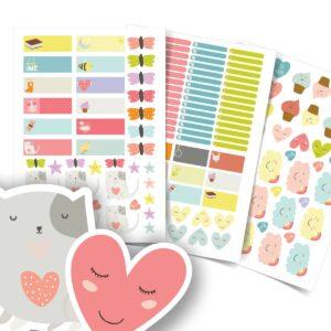 Etiquetas Escolares Personalizadas Coração Cute 137un