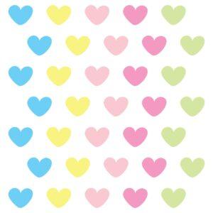 Adesivo de Parede Coração Candy Colors 55un