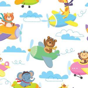 Papel de Parede Adesivo Infantil Animais Aviões