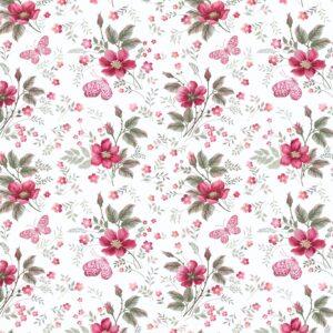 Papel de Parede Adesivo Flores e Borboletas