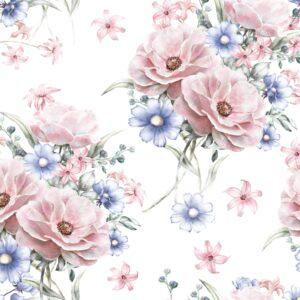 Papel de Parede de Flores Rosa e Azul