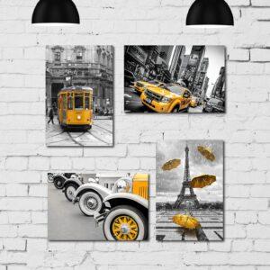 Kit Placa Decorativa MDF Cidades em Detalhe Amarelo