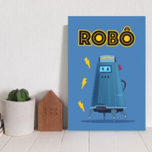 Placa Decorativa MDF infantil Robô Azul 20x30cm