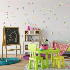 Adesivo Infantil Bolinhas Tons de Verde, Cinza e Rosa
