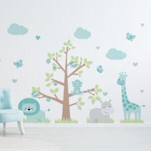 Adesivo de Parede Infantil Safari Menina Azul Turquesa