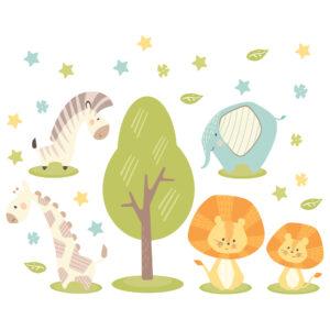 Adesivo de Parede Animais Safari Minimalista Infantil,Adesivo de Parede Animais Safari Minimalista Infantil