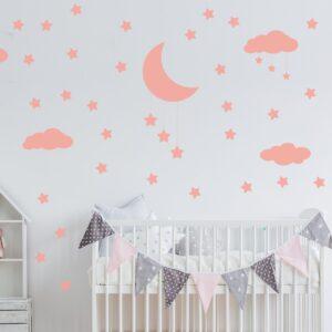Adesivo de Parede Infantil Nuvens Lua e Estrelas Rosa