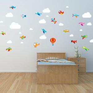 Adesivo de Parede para Quarto de Bebê Aviões e Nuvens