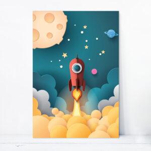 Placa Decorativa MDF Astronauta Foguete Vermelho