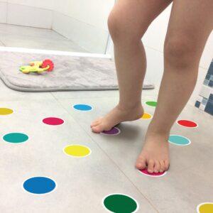 Adesivo Piso Banheiro Antiderrapante Bolinhas Coloridas