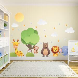 Adesivo de Parede Árvore Animais Zoo Infantil