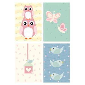 Placas Decorativas Coruja Baby Rosa MDF 20x30cm Kit 4un