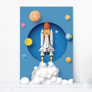 Placa Decorativa MDF Astronauta Foguete em Órbita