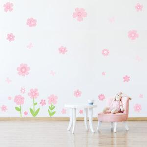 Adesivo de Parede Infantil Menina Flores 30un Cobre 4,8m²