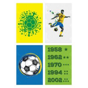 Kit Placas Decorativas País do Futebol Verde Amarela 4un