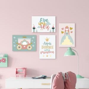 Placas Decorativas Aqui Dorme Uma Princesa 20x30cm Kit 4un,Placas Decorativas Aqui Dorme Uma Princesa 20x30cm Kit 4un