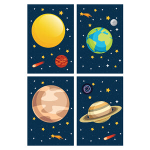 Placa Decorativa Infantil Sistema Solar Kit 4un