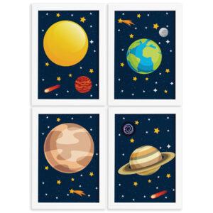 Quadros para Quarto Infantil Sistema Solar Planetas Kit 4unQuadros para Quarto Infantil Sistema Solar Planetas Kit 4un