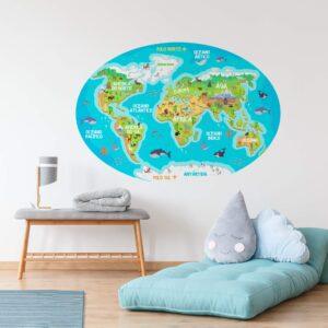 Adesivo Mapa Mundi Infantil para Quarto