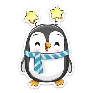 Adesivo de Pinguim para Geladeira Estrelas