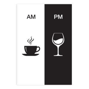 Placa Decorativa Vinho e Café AM/PM Minimalista 20x30cm,Placa Decorativa Vinho e Café AM/PM Minimalista 20x30cm