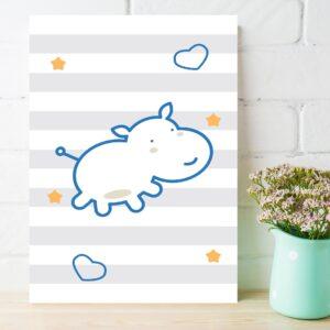 Placa Decorativa MDF Infantil Hipopótamo Azul 30x40cm