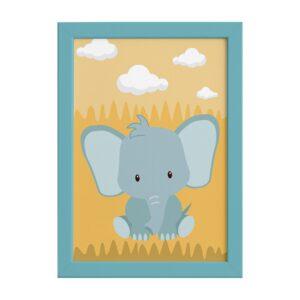 Quadro Infantil Safari Elefante Quarto Moldura Azul