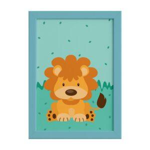 Quadro Infantil Safari Leão para Quarto Moldura Azul