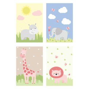 Placa Decorativa Infantil Safari Menina Kit 4un