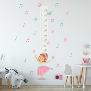 Adesivo de Parede Infantil Menina Bailarina Régua 155cm