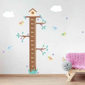Adesivo de Parede Infantil Régua Pássaros 161cm