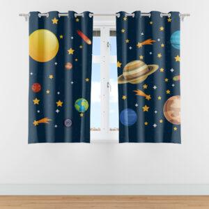 Cortina Infantil para Quarto Sistema Solar 2,20m x 1,40m