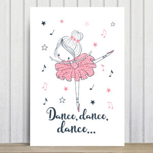 Placa Decorativa Bailarina Frase Dance, Dance, Dance