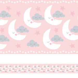Faixa de Parede Nuvens e Lua Rosa Quarto de Meninas 6mx15cm