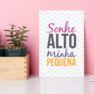 Placa Decorativa MDF Infantil Frase Sonhe Alto 20x30cm