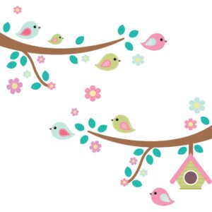 Adesivo de Parede Galho, Pássaros e Flores (2 galhos 80cm cada)