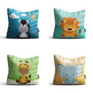 Almofadas Animais Safari para Quarto Infantil 35x35 kit 4un