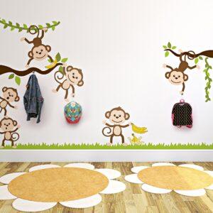 Adesivo de Parede Macacos e Gancho de Parede em Acrílico 3un