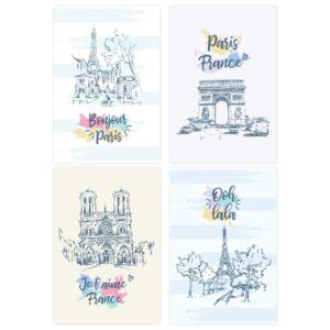 Placas Decorativas Paris Ilustrada para Sala
