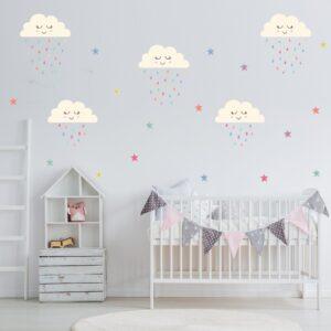 Adesivo de Parede Infantil Nuvens Estrelas e Gotas
