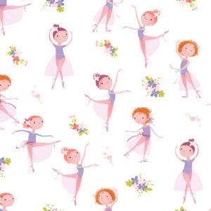 Papel de Parede Bailarina e Flores Quarto de Menina