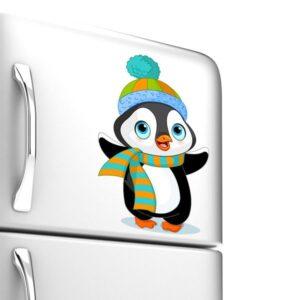Adesivo de Geladeira Pinguim Agasalhado 25x16