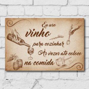 Placa Decorativa MDF Frase Vinho