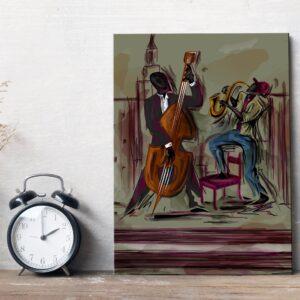 Placa Decorativa MDF Músicos Jazz