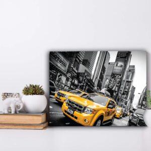Placa Decorativa MDF Cidades Táxi Amarelo