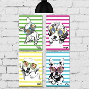 Kit Placa Decorativa MDF Cachorros 4unidades