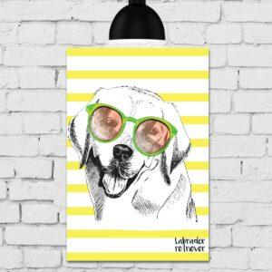 Placa Decorativa MDF Cachorro Fundo Amarelo