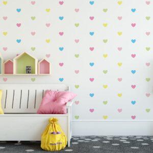 Adesivo de Parede Corações Candy Colors 5cm 55un